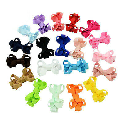 2 Inch Girls Baby Clip Kids Ribbon Solid Bows Bowknot Headwear Hair Accessories