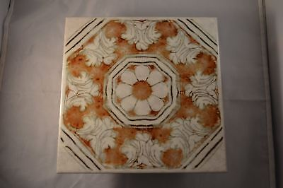 "Vintage Italian Decorative Fountain Tile 7 & 3/4"" Sq VGC"