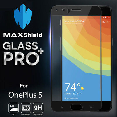 MAXSHIELD Full Coverage Tempered Glass Film Screen Protector for OnePlus 5 1+5