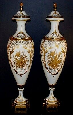 Pair Of Huge 25 Inch French Sevres Urns Bronze Mount Antique Hand Painted