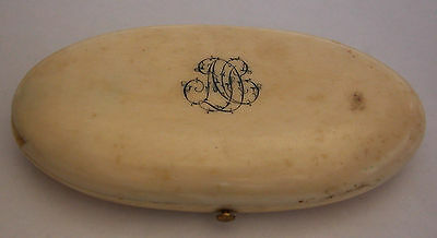 Antique 18Th Century European Hand  Carved Sewing Case With Monogram