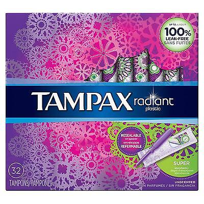 Super Tampons Tampax Radiant Plastic Tampons 32 Count Pack Of 6 New