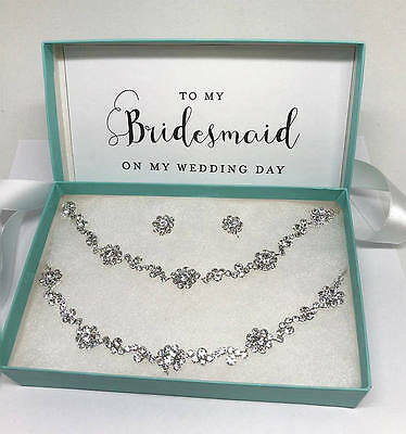 Silver Bridesmaid Crystal Choker Backdrop Necklace Earrings Bracelet Jewelry Set