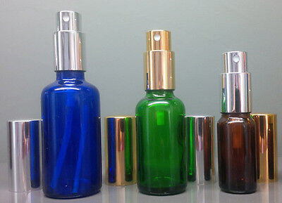 Spray Mister Atomiser Bottles in Gold or Silver with Over-Caps