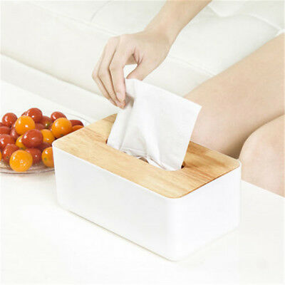 Plastic Home Room Car Hotel Tissue Box Wooden Cover Paper Napkin Holder Case PQ