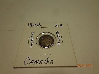 1902 Canadian Canada 5 Five Cent nickel Large H Silver Coin