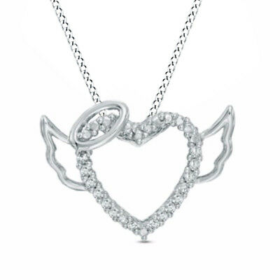 1/10Ct Real Diamond Heart Halo and Wings Pendant Sterling Silver Valentine Gifts