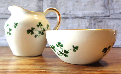 Vintage Carrigaline Pottery miniature Irish wash jug & bowl shamrock (X)
