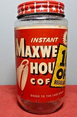 Vintage MAXWELL HOUSE COFFEE Instant Coffee JAR  6 oz. ~ Marked 99 Cents!
