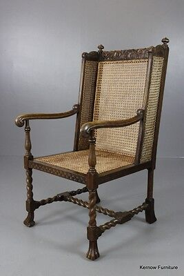 Early 20th Century Carolean Revival Caned Wing Chair