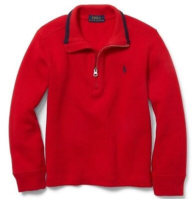 $55 Polo Ralph Lauren Boys French Rib Cotton Half-Zip Sweater Pullover Red 5