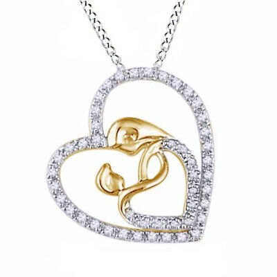 1/5ct Diamond Motherly Love Heart Pendant in Sterling Silver and 14K Gold Over