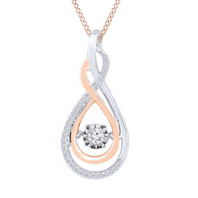 1/6ct April Birthstone Lovebeat Real Diamond Pendant 925 Silver & Rose Gold Over