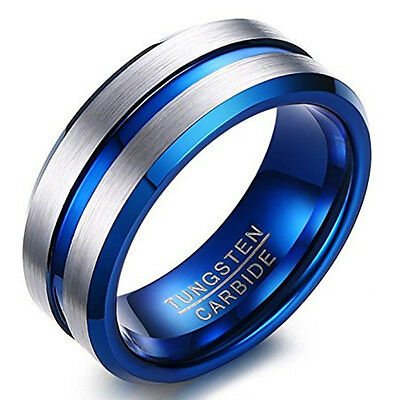 Tungsten Carbide Mens Silver Blue Wedding Ring 8mm New UK R055