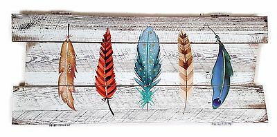 Feather Wall Art Timber Wood Hanging Sculpture Driftwood Shabby Sculpture 70 cm