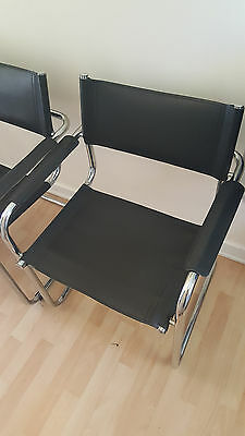 4 x Vintage Chrome & Leather Italian Cantilever Chairs Bauhaus Mid Century