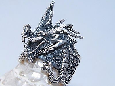Handcrafted Art Massive 925 Sterling Silver With Dragon Design Ring-Custom Size