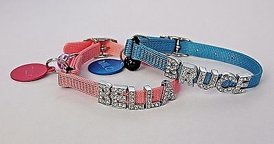 Cat / Kitten Personalised, Safety Elastic Collar Diamante / Bling
