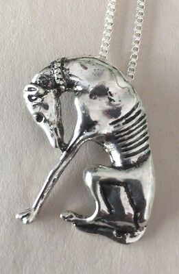 Sitting Greyhound Whippet Dog Necklace. Antique Silver.