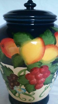 Biscotti Hand Painted For Nonni`s Navy Blue  Fruit Cookie Jar w/ Rubber Seal Lid
