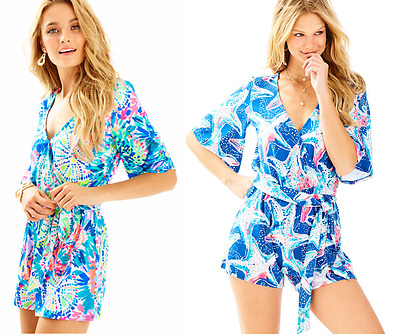 8a824cd79692 LILLY PULITZER MADILYN Romper Tiki Pink Royal Lime Engineered XS NWT ...