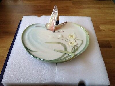 REDUCED FRANZ Porcelain Butterfly Flower Tray FZ00186 in Original Box by Jen Woo