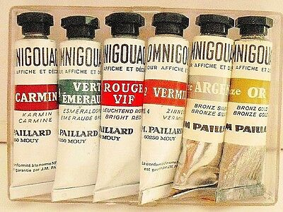 Vintage 6 X  J.m.paillard  Gouaches Colour Made In France