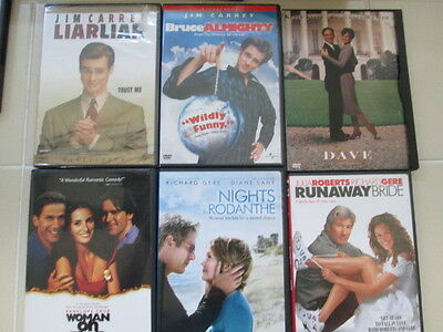 6 Movie Lot Liar Liar Bruce Almighty Nights in Rodanthe Runaway Bride Dave DVD