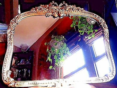 """1930's -1940's VINTAGE Antique GOLD MIRROR 28""""x 23"""" Hanging Wall Floral Design"""