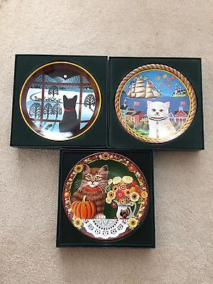 "ANNA PERENNA 3 of 4 COLLECTOR'S PLATES IN ""UNCLE TAD'S""HOLIDAY CATS SERIES W/COA"