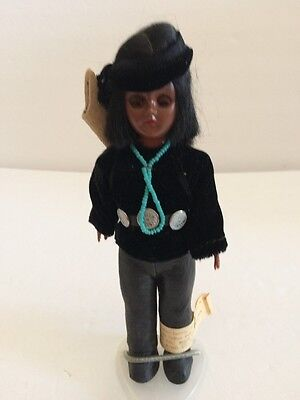 """Vintage Carlson Doll Indian Doll Designed By Deerfoot & Brown Eagle 7.5"""" Usa"""
