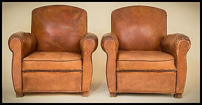 """French Art Deco Leather Club Chairs 1930s. """" MONT SAINT-MICHEL"""""""