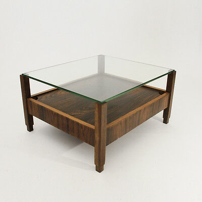 Tavolino in legno con piano in vetro anni 60, mid century coffee table glass top