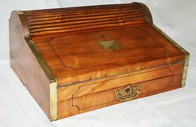 Old Roll Top ' Campaign Writing Box ' Walnut - Brass Banding 1800's ? Military ?