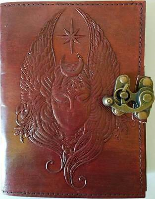 "Moon Goddess Wings Leather Embossed 7"" Linen Parchment Journal Book of Shadows"
