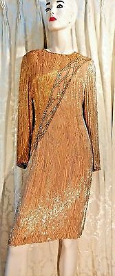 Bob Mackie Vintage Womens Dress Gold Sequined Bugle Beaded Retail $2000 Size 12