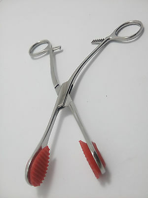 2 Pieces Of Young Tongue Forceps with Removable Corrugated Rubber Tips DDP