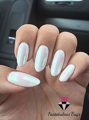 AB AURORA MIRROR NAILS ART POWDER DUST IRIDESCENT Trend Rainbow Chrome Nail