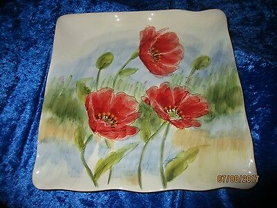"Maxcera  Square Plate 11.5""  Flowing Poppies"