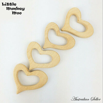5 x Heart Wooden Teething Natural Organic Beech Wood Teether Baby Toy Untreated