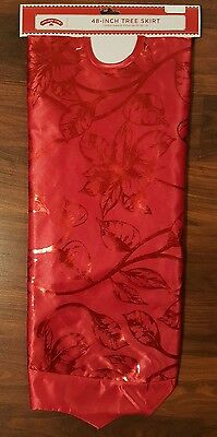 "Holiday Time 48"" Christmas Tree Skirt Red Foil Floral Bright Pretty NEW"