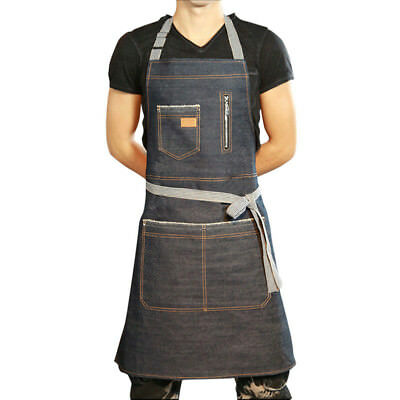 Newest Chef Apron Men Women Denim Workwear Cooking Bib Cover With Zipper Pockets