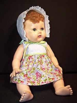 "Doll Clothes for 16"" Tiny Tears Dress Bonnet Panties Handmade Floral Pink Blue"