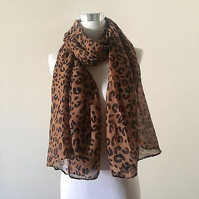 Coffee Animal Leopard Print 100% Viscose Cotton Soft Long Scarf  VL03