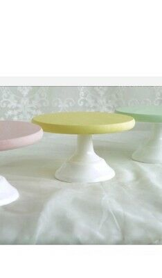 10 Inch 25cm Wood With Metal Base Cupcake Cake Stand Yellow Baby Shower Birthday