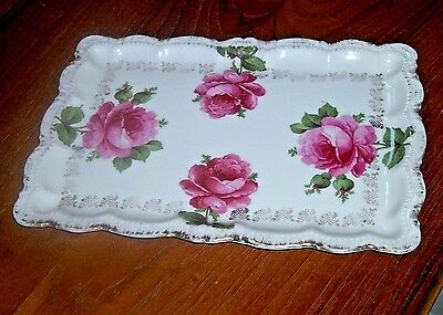 Vintage Rm Bavaria Porcelain Handpainted Red Rose Tray