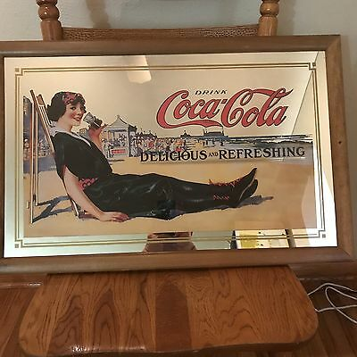 Vintage Rare COCA COLA LARGE MIRROR PICTURE IN FRAME - Delicious And Refreshing