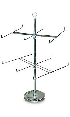 "5 x  2 TIER SPINNER RACK 26"" Dia. x 25"" H (Silver)"