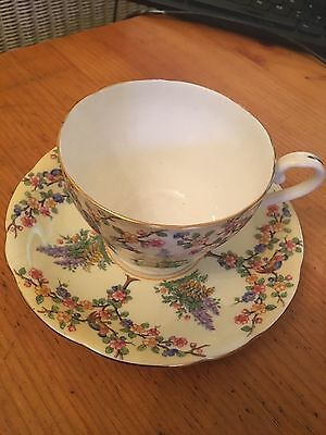Vintage Aynsley Teacup Tea Cup and Saucer Yellow Floral Roses