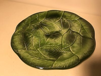 """Italy Green Leaf Majolica Pottery Plate Set of 4  #7884/21 8 1/8"""", B0260110-1"""